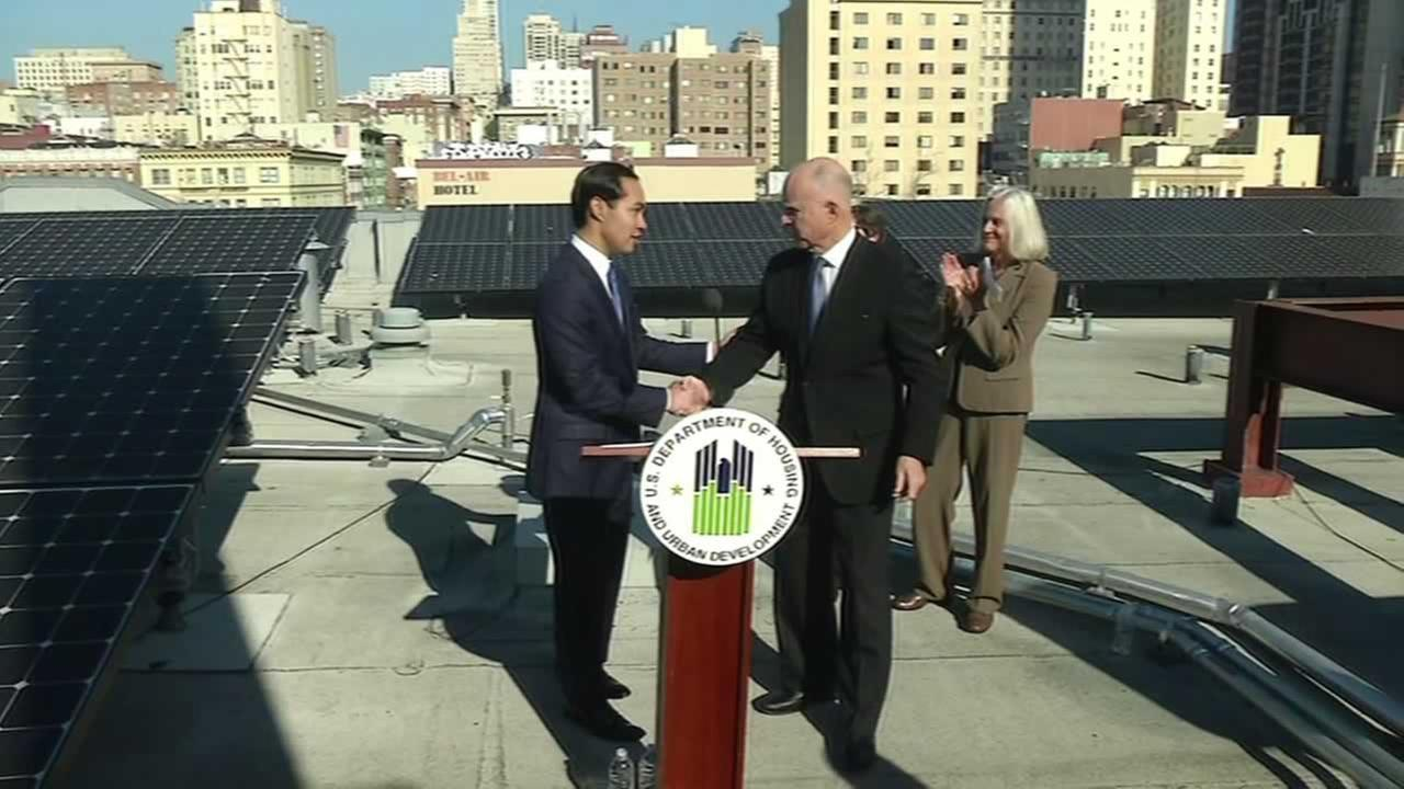 Governor Jerry Brown joined Housing and Urban Development Secretary Julian Castro atop a Tenderloin apartment building.