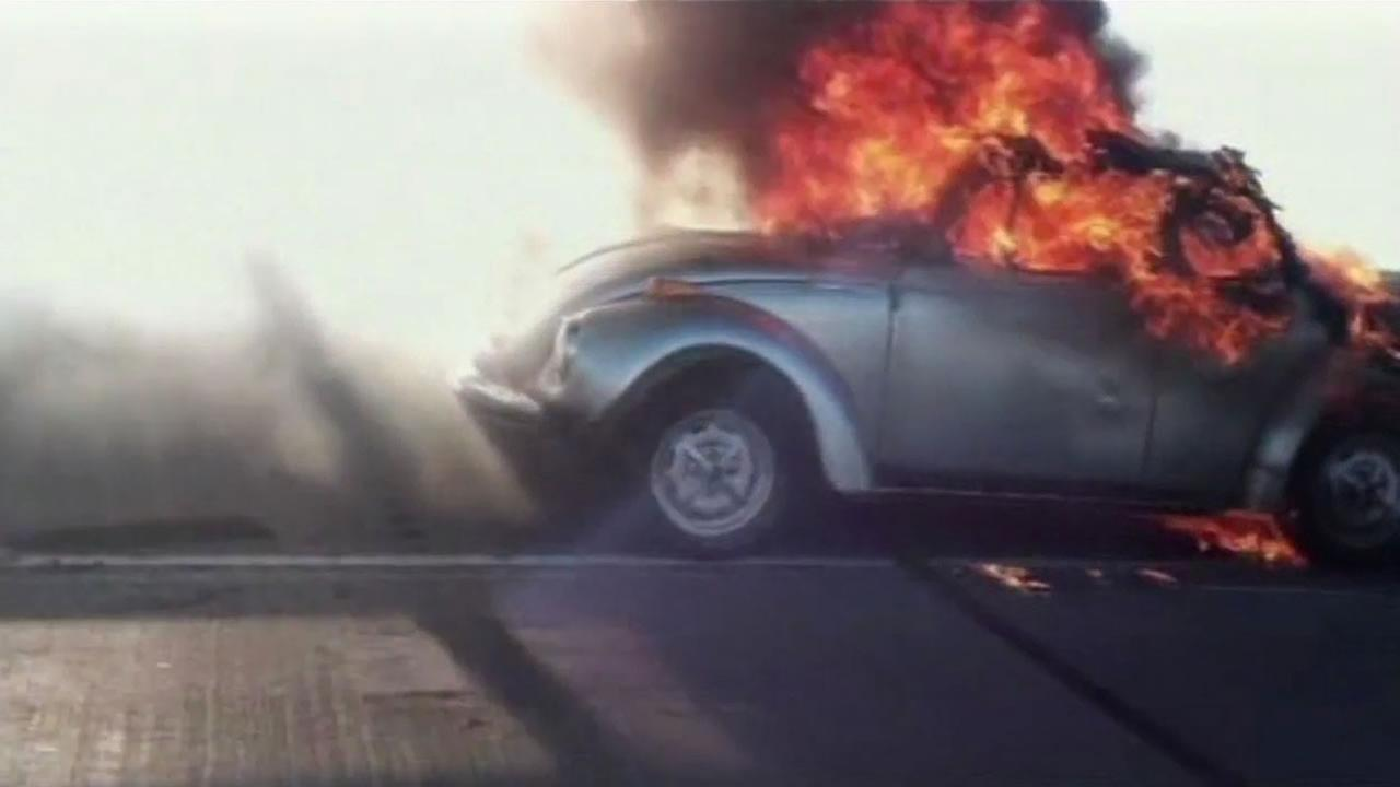 Car catching fire