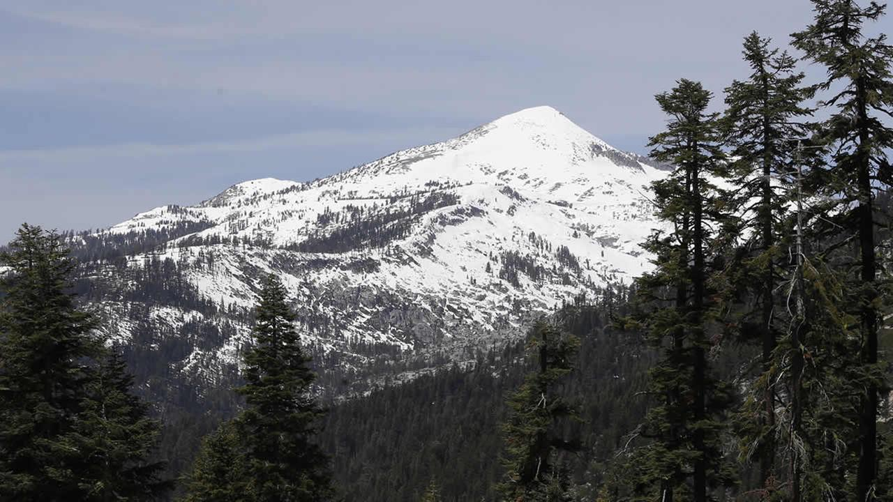 Snow covers the highest elevations of the Sierra Nevada near Echo Summit, Calif., Tuesday, May 1, 2014. (AP Photo/Rich Pedroncelli)