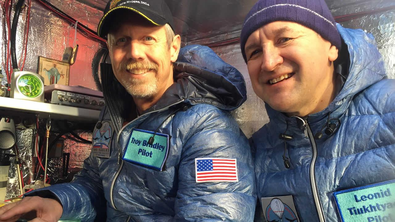 This Jan. 8, 2015 photo provided by Tami Bradley-Two Eagles Balloon Team, shows pilots from left, Troy Bradley of Albuquerque, N.M., and Leonid Tiukhtyaev of Russia. (AP Photo?