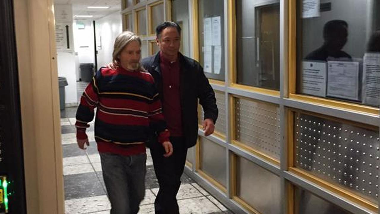 Jeff Adachi and Mark Andrus walking out of jail