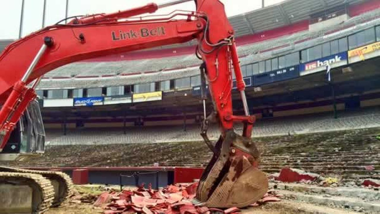 Crews demolish Candlestick Park, former home of the San Francisco 49ers, on Feb. 4, 2015.