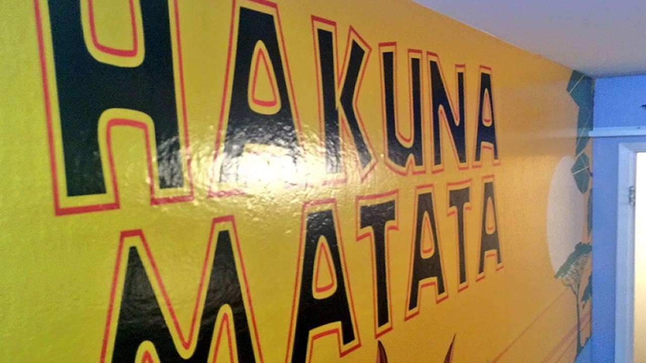 Hakuna matata is painted on the wall of Austins bedroom