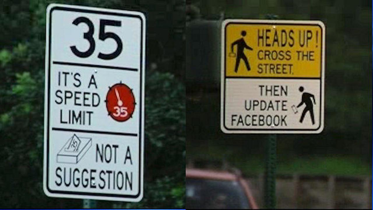Funny traffic signs in Hayward, California.