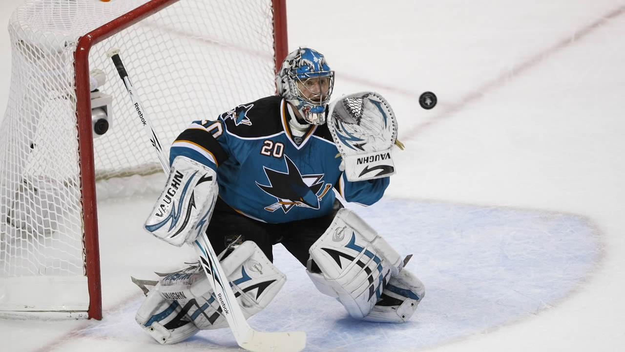San Jose Sharks goalie Evgeni Nabokov (20) during Game 1 of the NHL hockey Western Conference finals, Sunday, May 16, 2010, in San Jose, Calif. (AP Photo/Paul Sakuma)