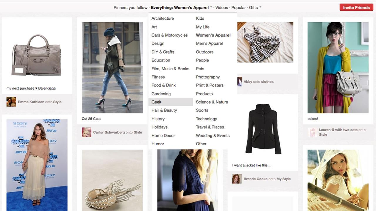 This screen shot shows a page of womens products from Pinterest.