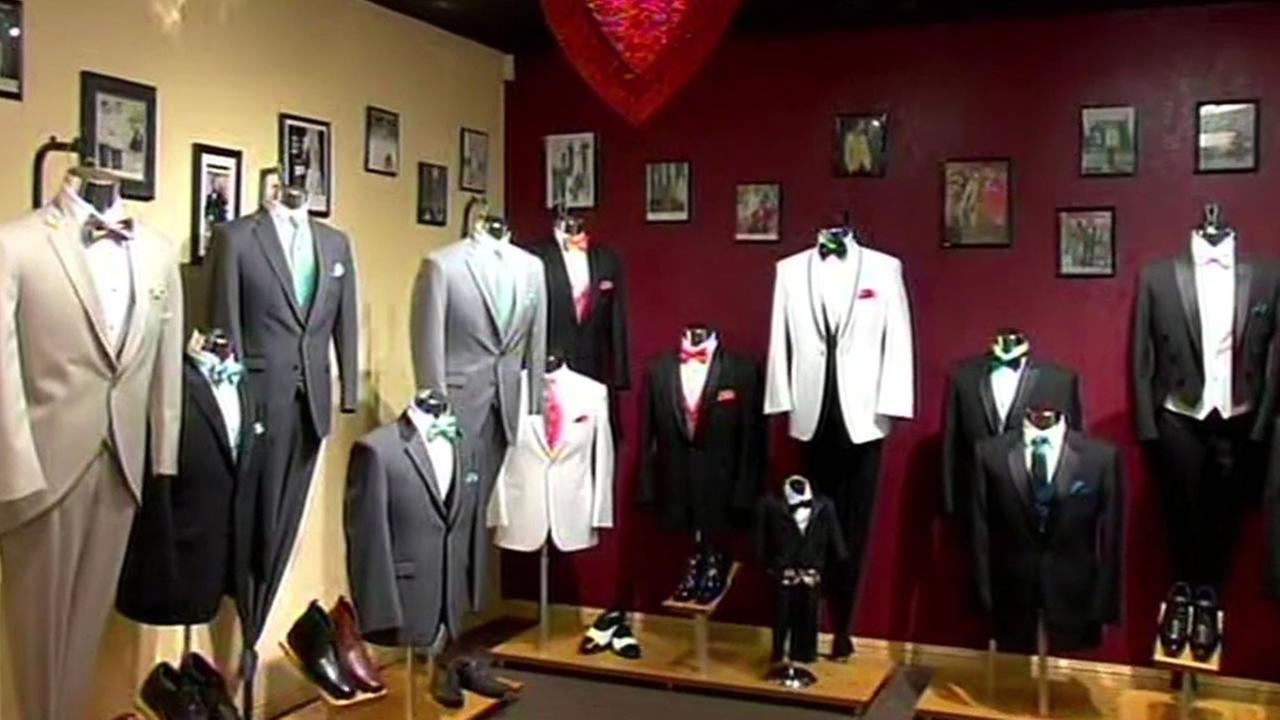 Selix Formalwear tuxedos on display