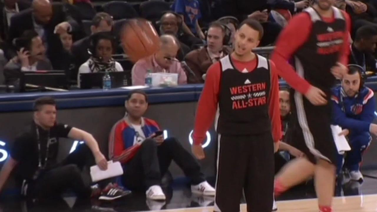 Stephen Curry at practice before the 3-point contest, NBA All-Star Saturday night, Feb. 14, 2015.
