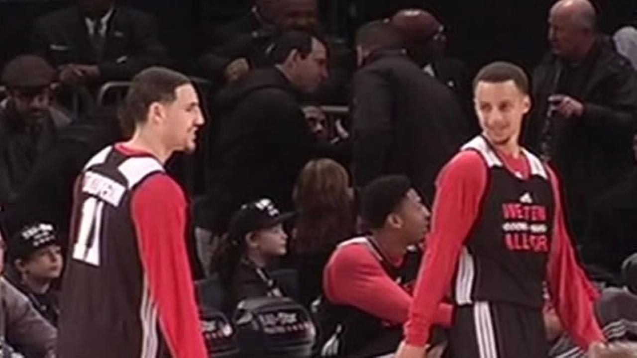 Teammates Klay Thompson and Stephen Curry during practice at the NBA All-Star Weekend, Feb. 14, 2014.