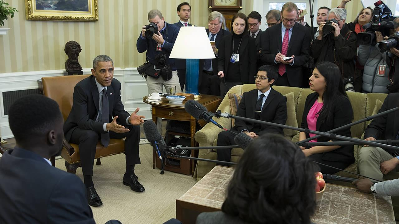 President Barack Obama meets with a group of Dreamers in the Oval Office