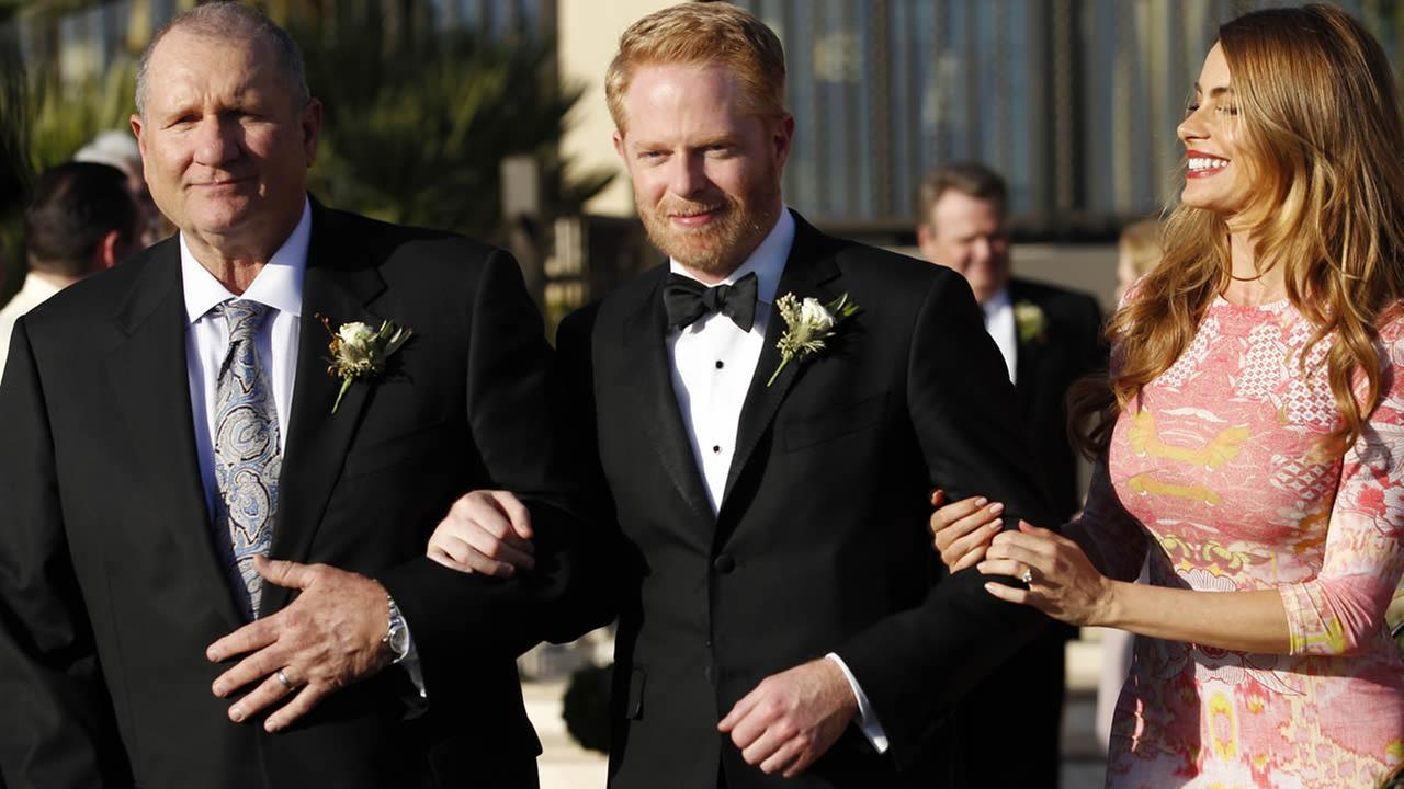 This photo released by ABC shows Ed ONeill, Jesse Tyler Ferguson and Sofia Vergara, in Modern Family, nominated July 10, 2014 for an Emmy Award for best comedy series.(AP Photo)