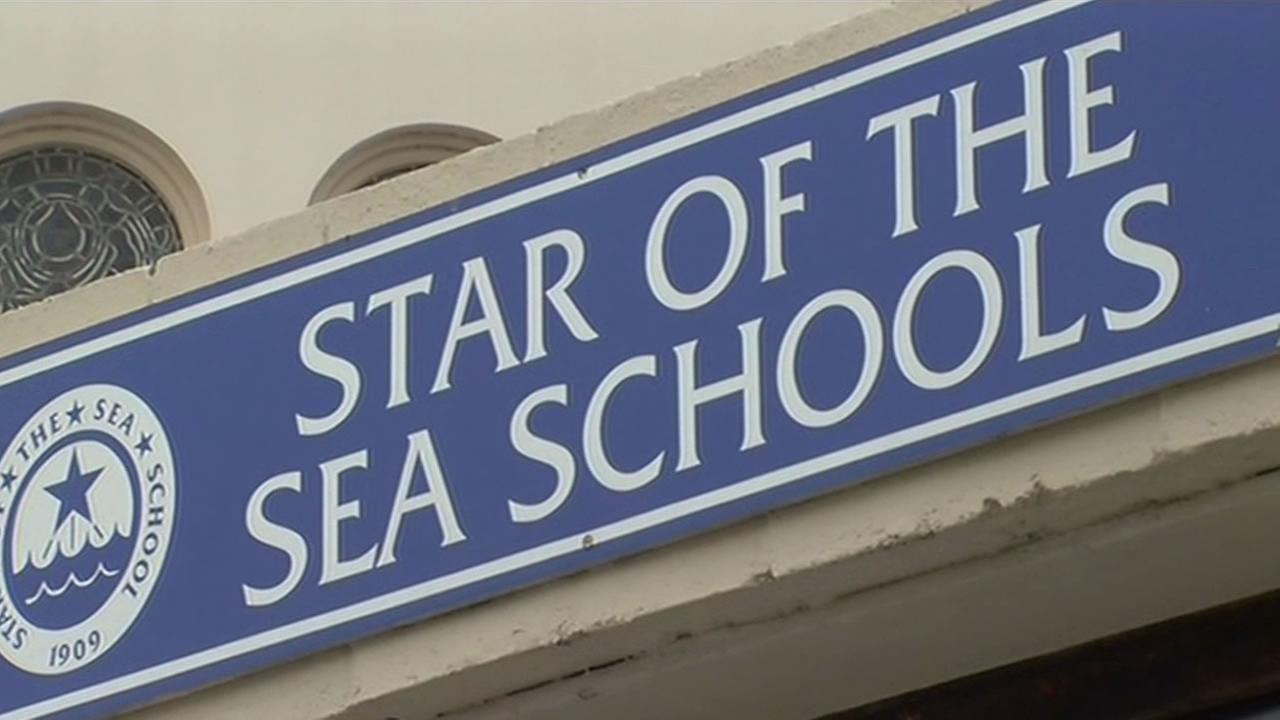 A sign for Star of the Sea Schools is seen in San Francisco on Feb. 18, 2015.