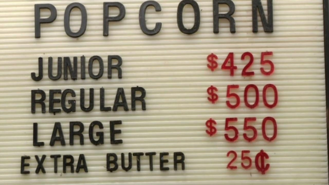 A sign at the Grand Lake Theatre concession stand is seen in Oakland, Calif., Feb. 2015.(ABC7/Wayne Freedman)