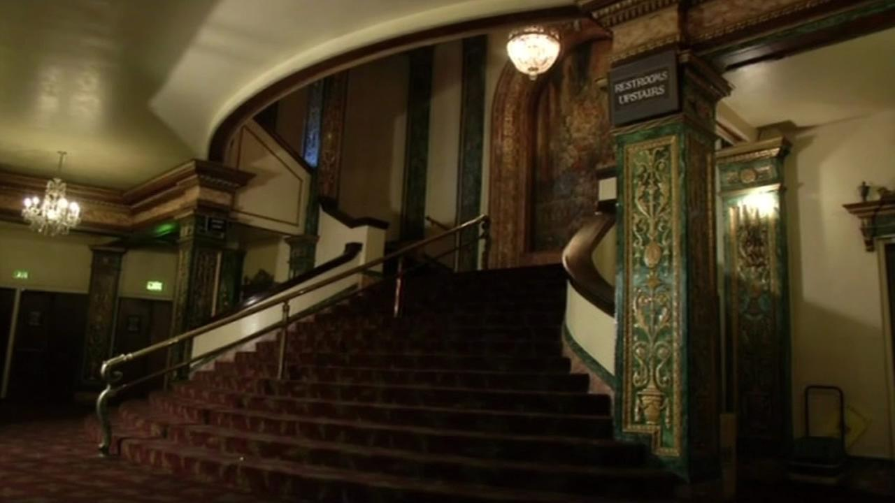 Stairs inside the Grand Lake Theatre concession stand are seen in Oakland, Calif., Feb. 2015.(ABC7/Wayne Freedman)