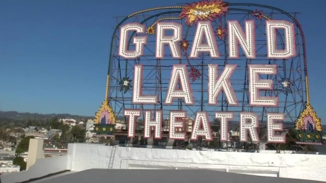 The Grand Lake Theatres marquee is seen in Oakland, Calif., Feb. 2015.(ABC7/Wayne Freedman)