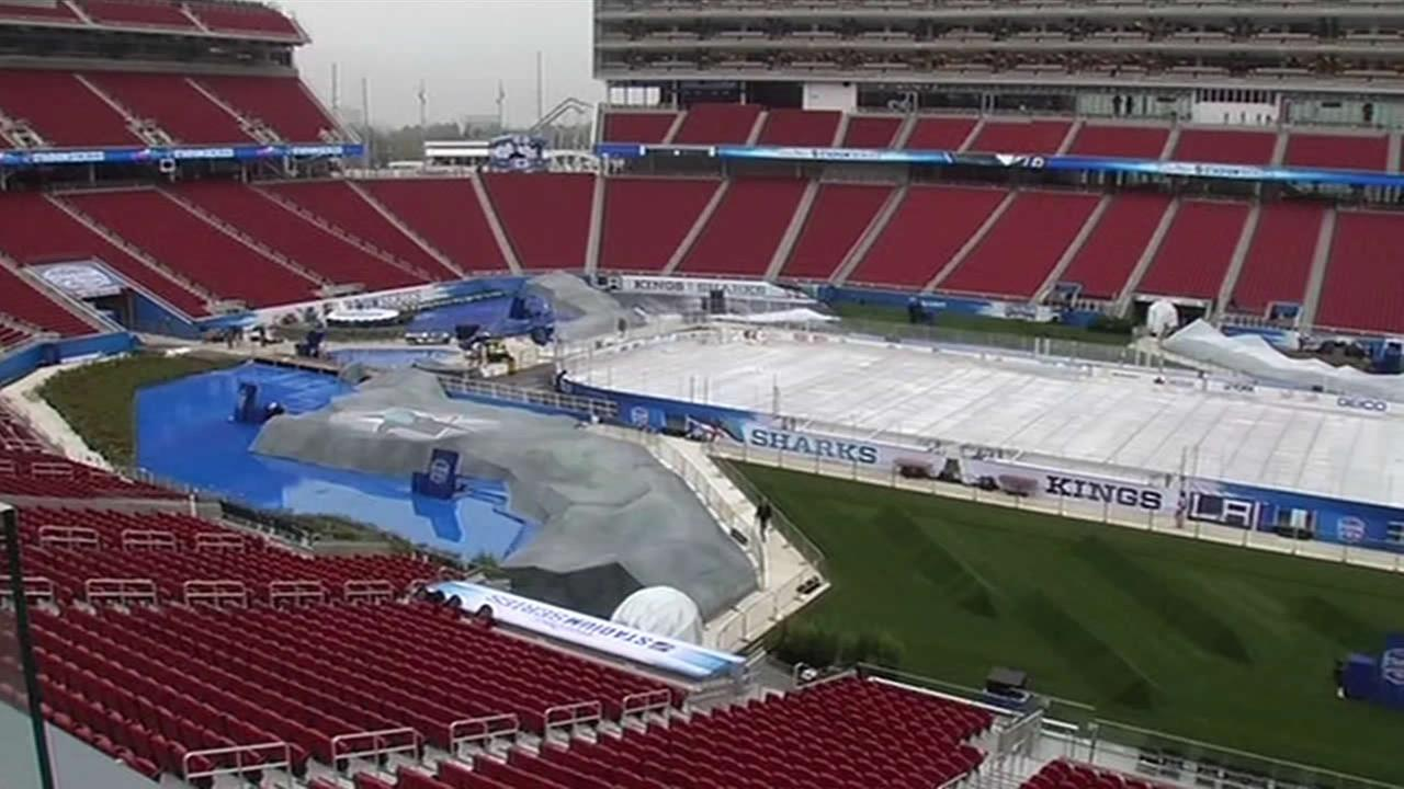 Preparations are underway at Levis Stadium for the Sharks-Kings NHL Stadium Series game in Santa Clara, Calif. on Feb. 20, 2015.