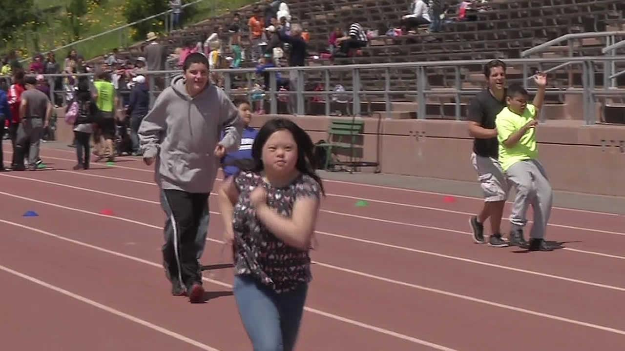 Special Olympics running race at Kezar Stadium