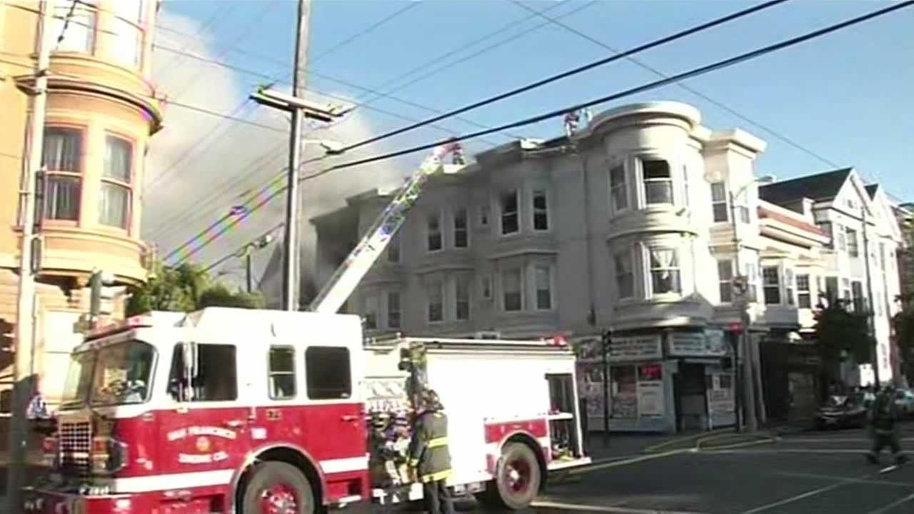 A three-alarm fire at 15th and Church in San Franciscos Mission District was brought under control quickly Saturday, but not before it damaged two buildings.