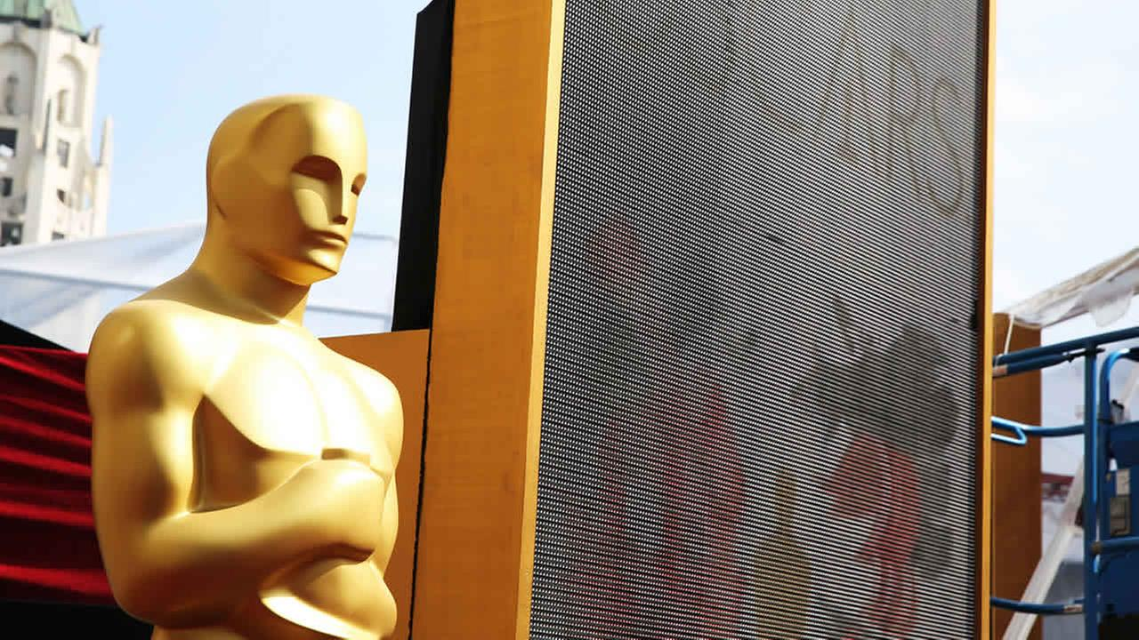 An Oscar statue is seen as preparations are made for the 87th Academy Awards in Los Angeles, Saturday, Feb. 21, 2015. (Photo by Matt Sayles/Invision/AP)