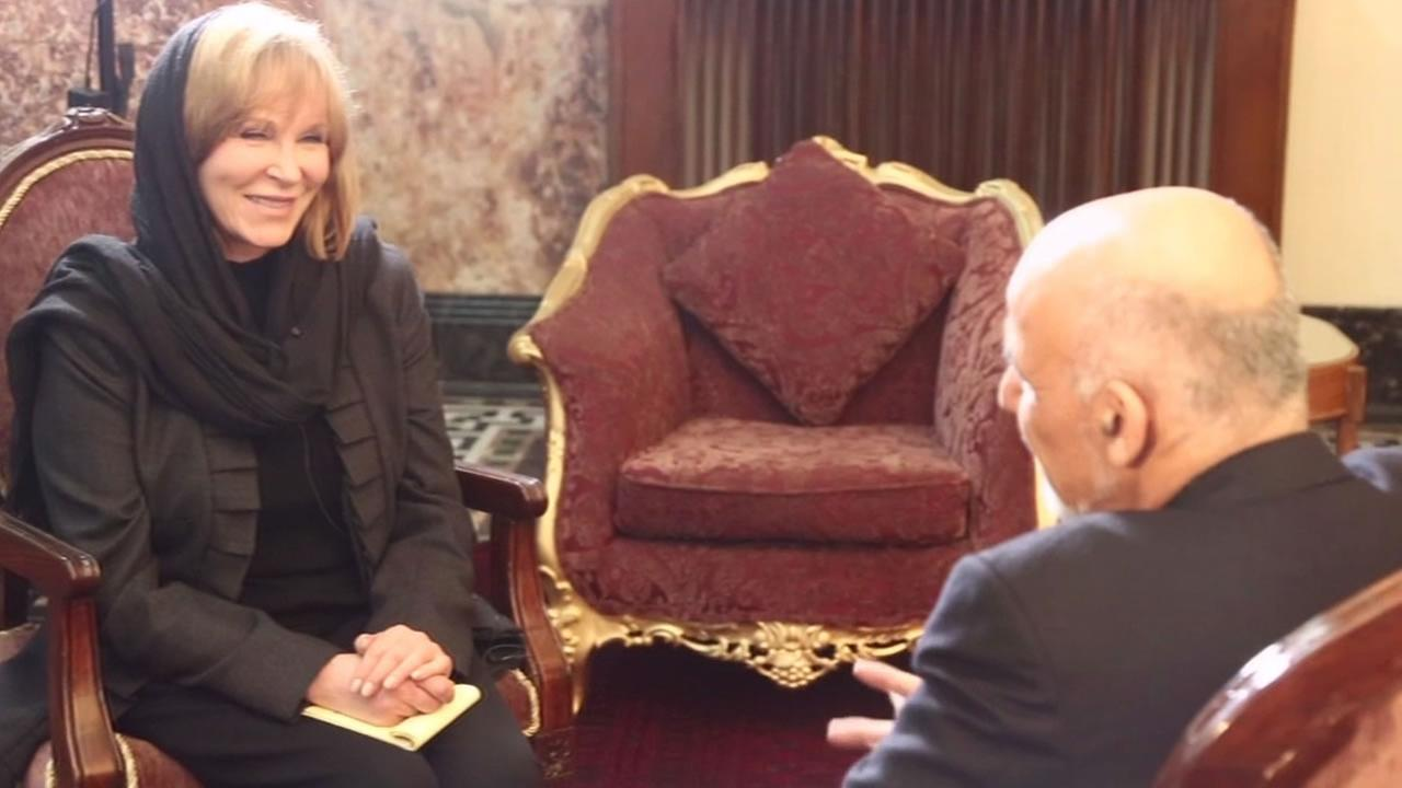 ABC7 News Anchor Cheryl Jennings interviews Afghanistan President Ashraf Ghani.