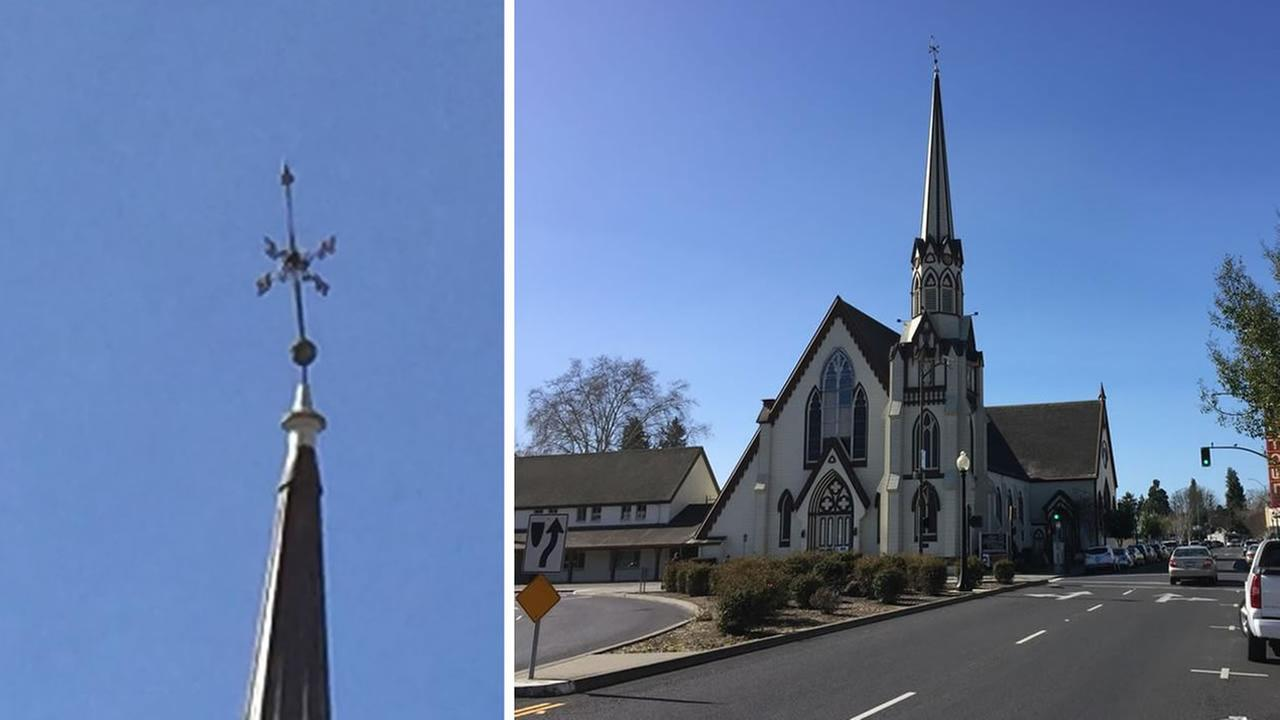 church with lopsided spire KGO-TV/Wayne Freedman