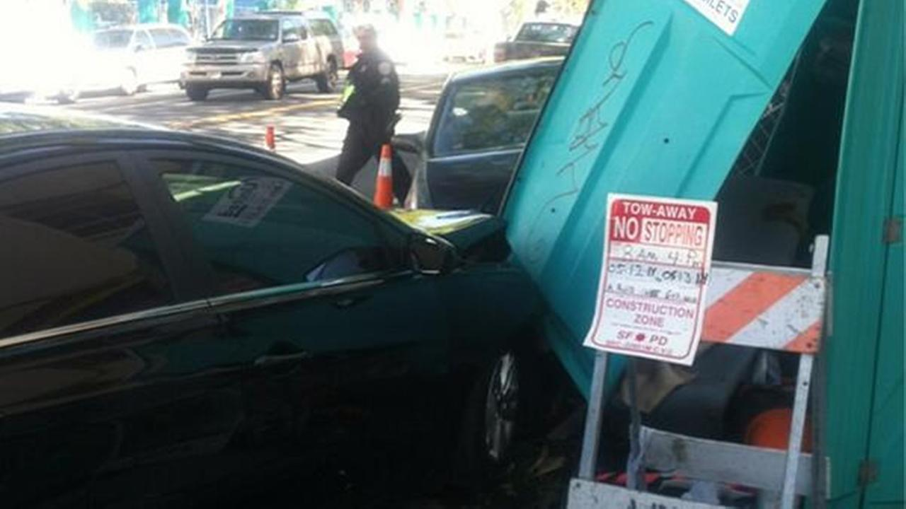 A driver crashed into a porta-potty on Folsom Street in San Francisco on Saturday May 10, 2014.