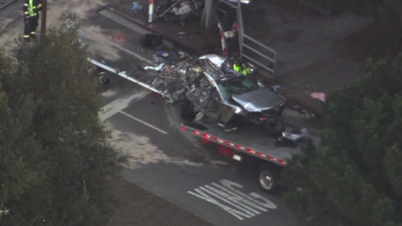 A vehicle was struck by Caltrain at the Ravenswood Crossing in Menlo Park, Calif. on Feb. 23, 2015.