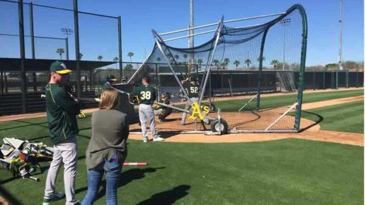 As manager Bob Melvin says he needs name tags with all the new players during Spring Training on Wednesday, Feb. 25, 2015.