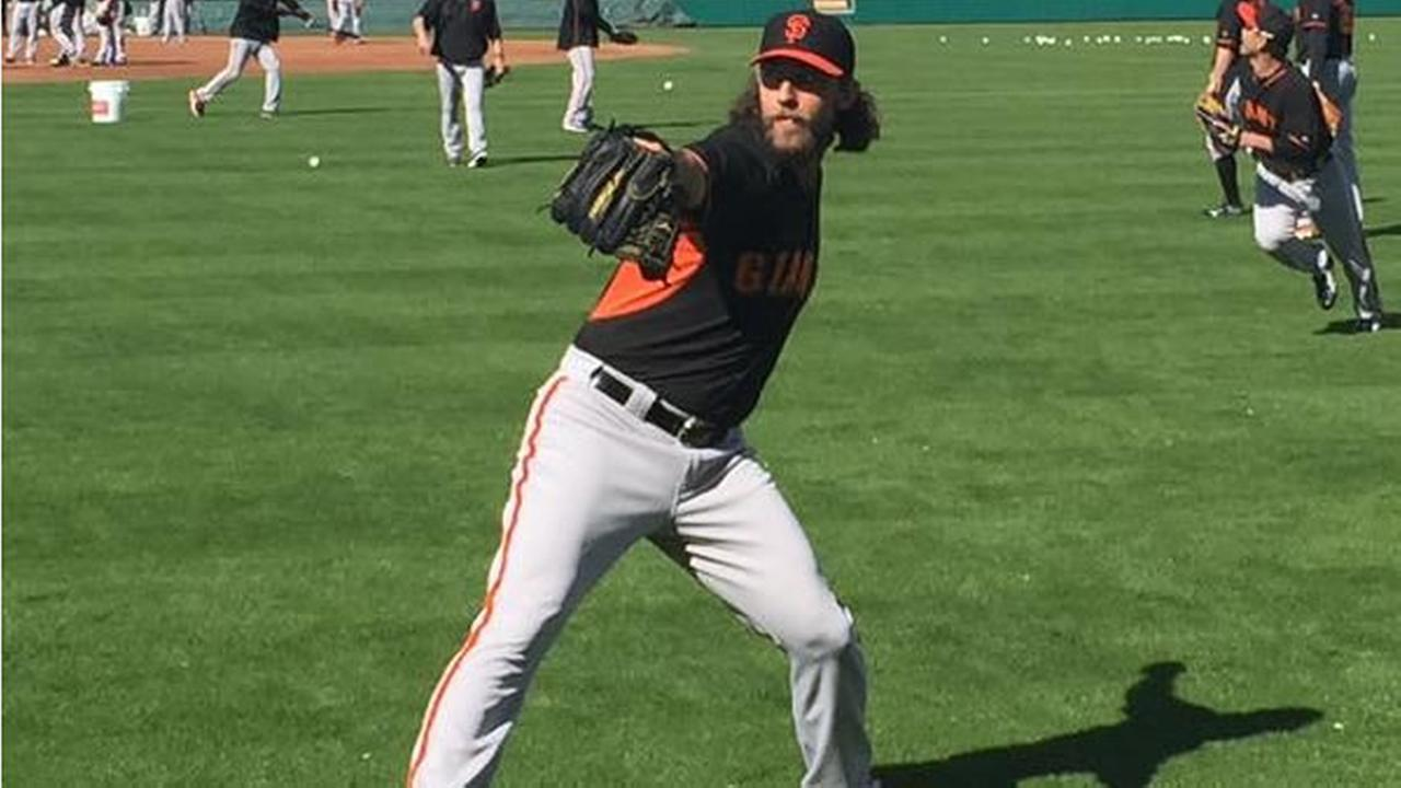 Madison Bumgarner in beast mode during Spring Training 2015 in Scottsdale, Arizona on Thursday, Feb. 26, 2015.