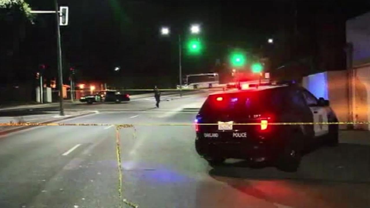 Oakland police investigate rollover crash near Mills College.