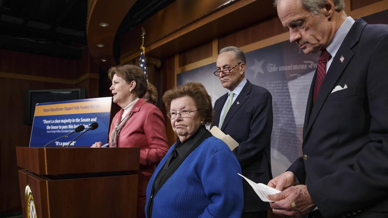 Sen. Jeanne Shaheen, D-N.H., Sen. Barbara Mikulski, D-Md., Sen. Charles Schumer, D-N.Y. and Sen. Tom Carper, D-Del. participate in a news conference on February 27, 2015. (AP Photo