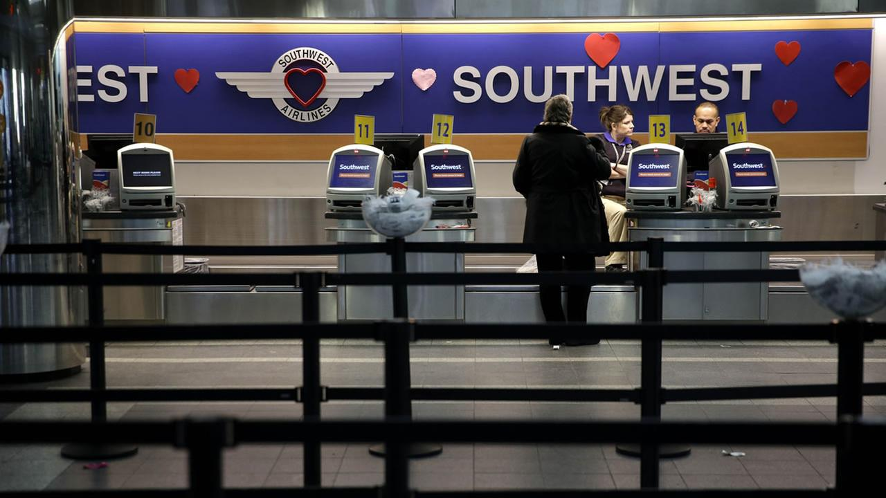 Southwest airport travel counters.
