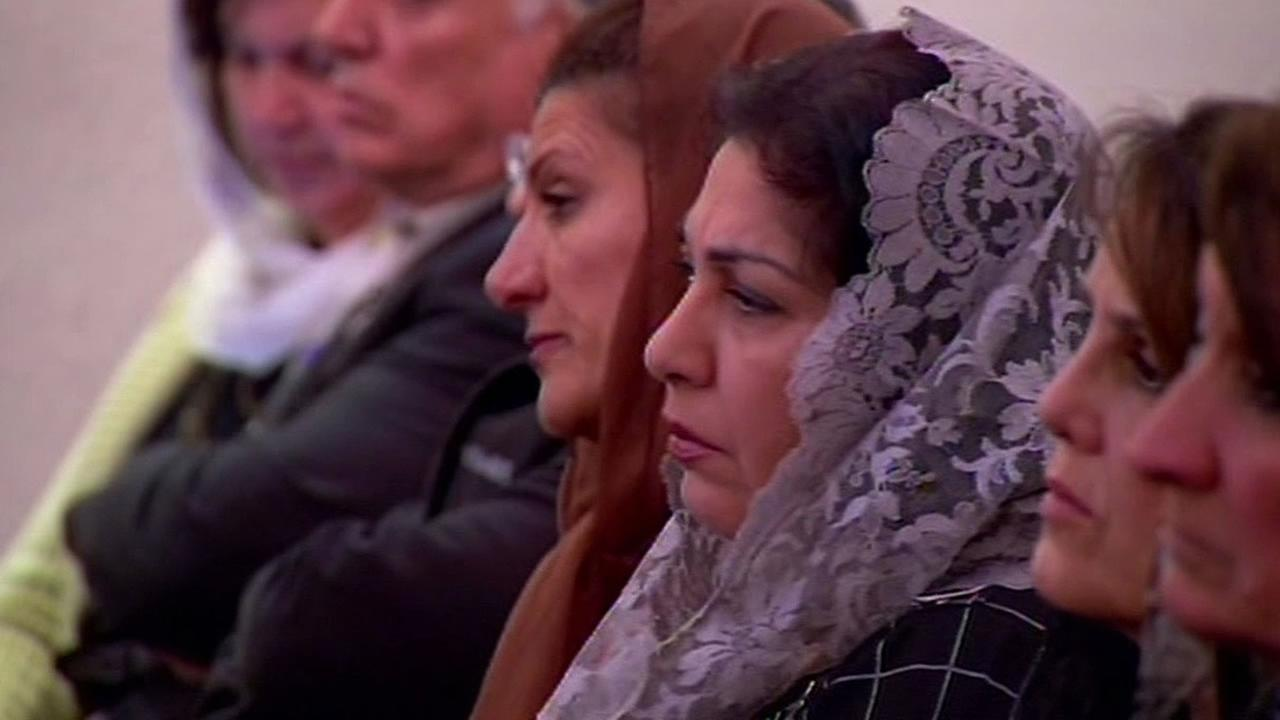 women gather for prayer at Mar Yosip Church in San Jose