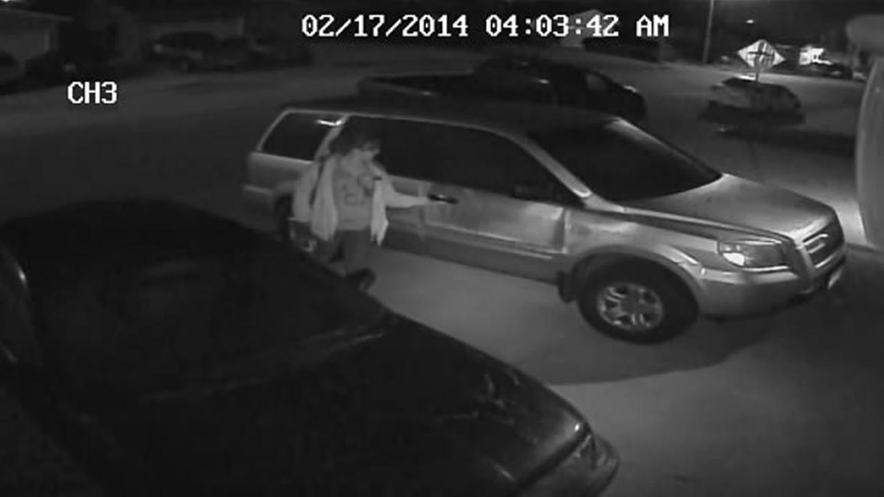 Surveillance video of car theft.