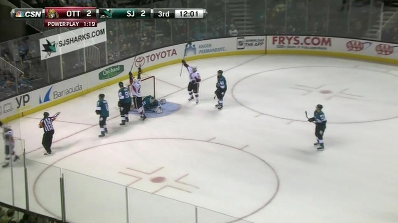 The San Jose Sharks lose to the Ottawa Senators 4-2 Saturday.