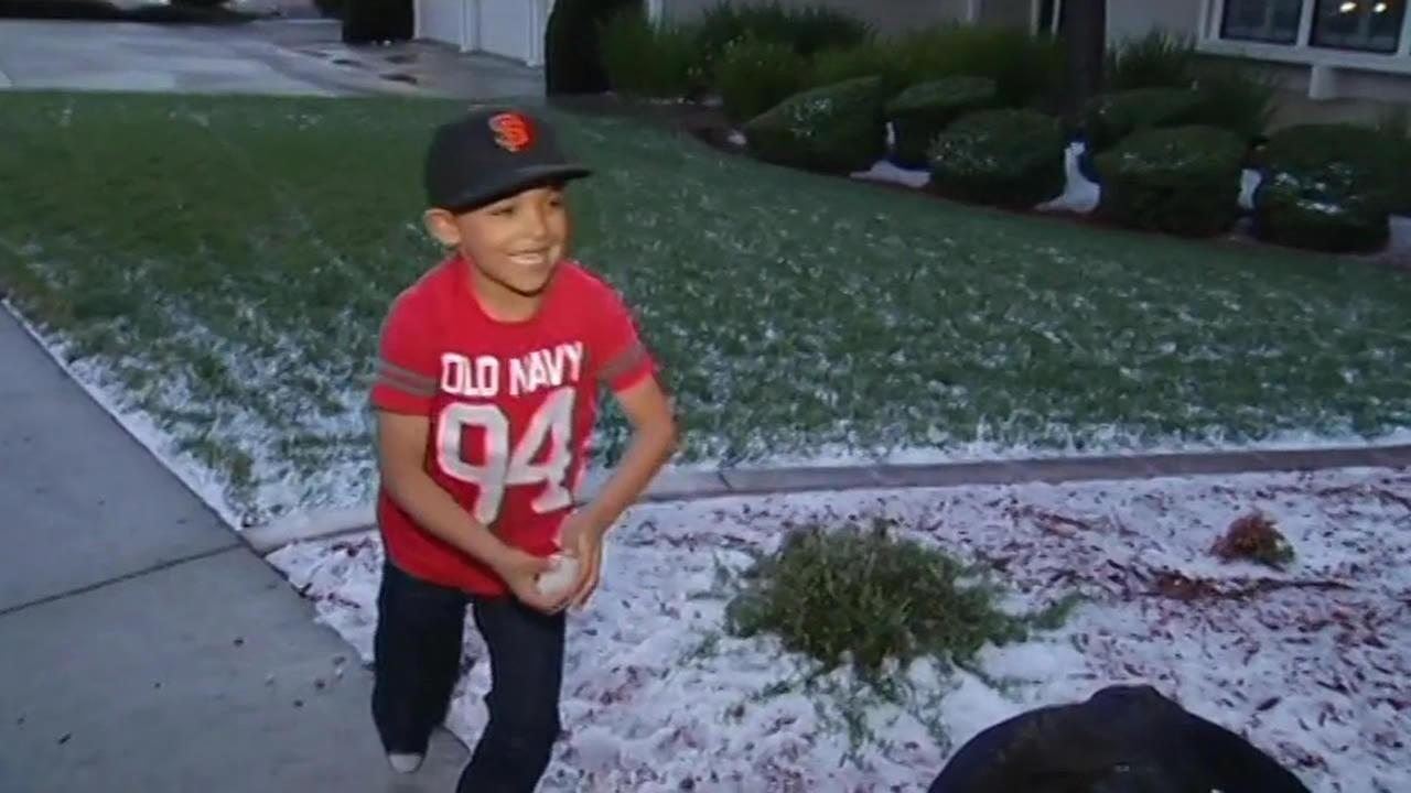 Hail fell in South San Jose, Calif. on Feb. 28, 2015.