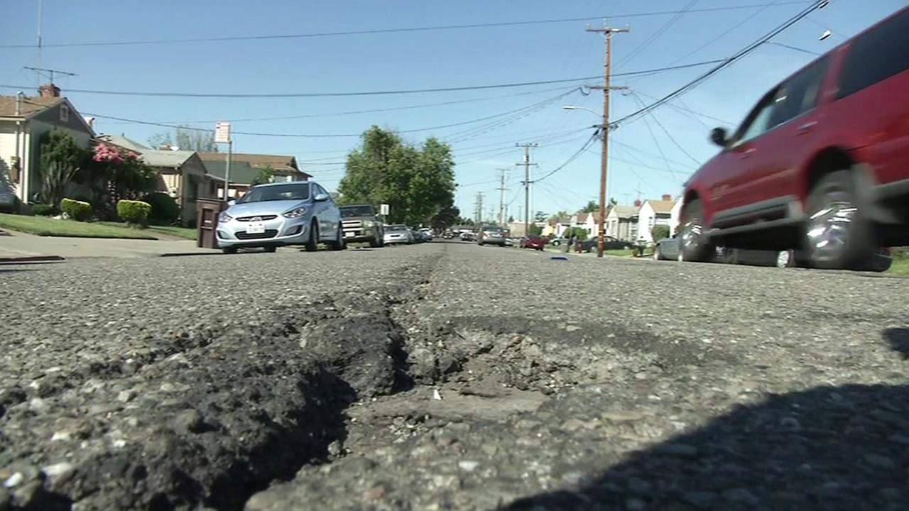 Broken road in San Jose.