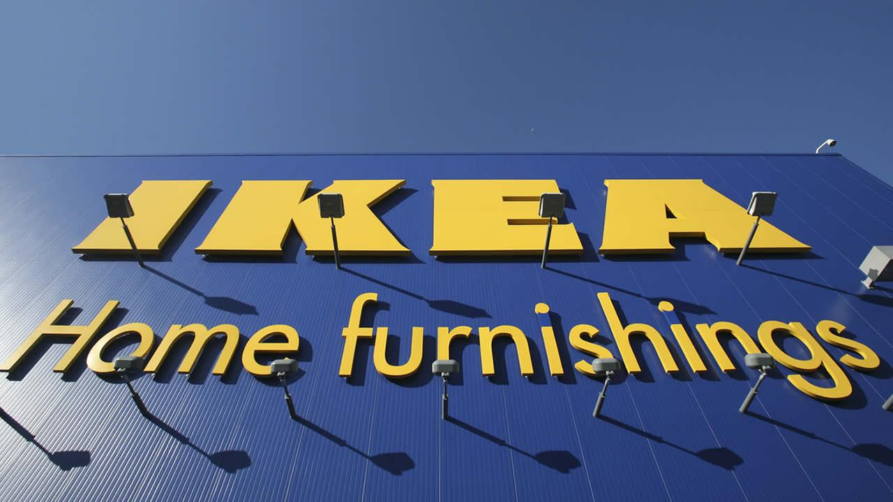 The Ikea logo is shown on the side of the warehouse-sized store in New York City on Wednesday, June 18, 2008.(AP Photo/Mark Lennihan)
