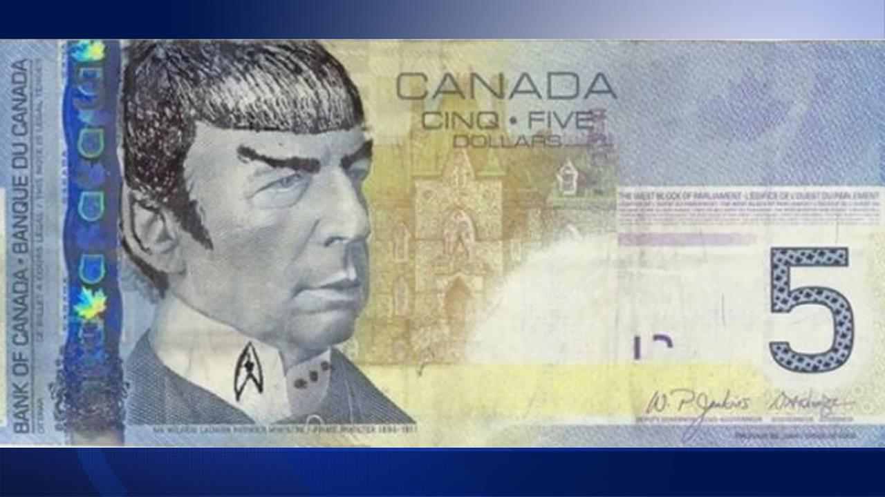 Star Trek fans in Canada are Spocking their $5 bills to pay tribute to the late Leonard Nimoy.