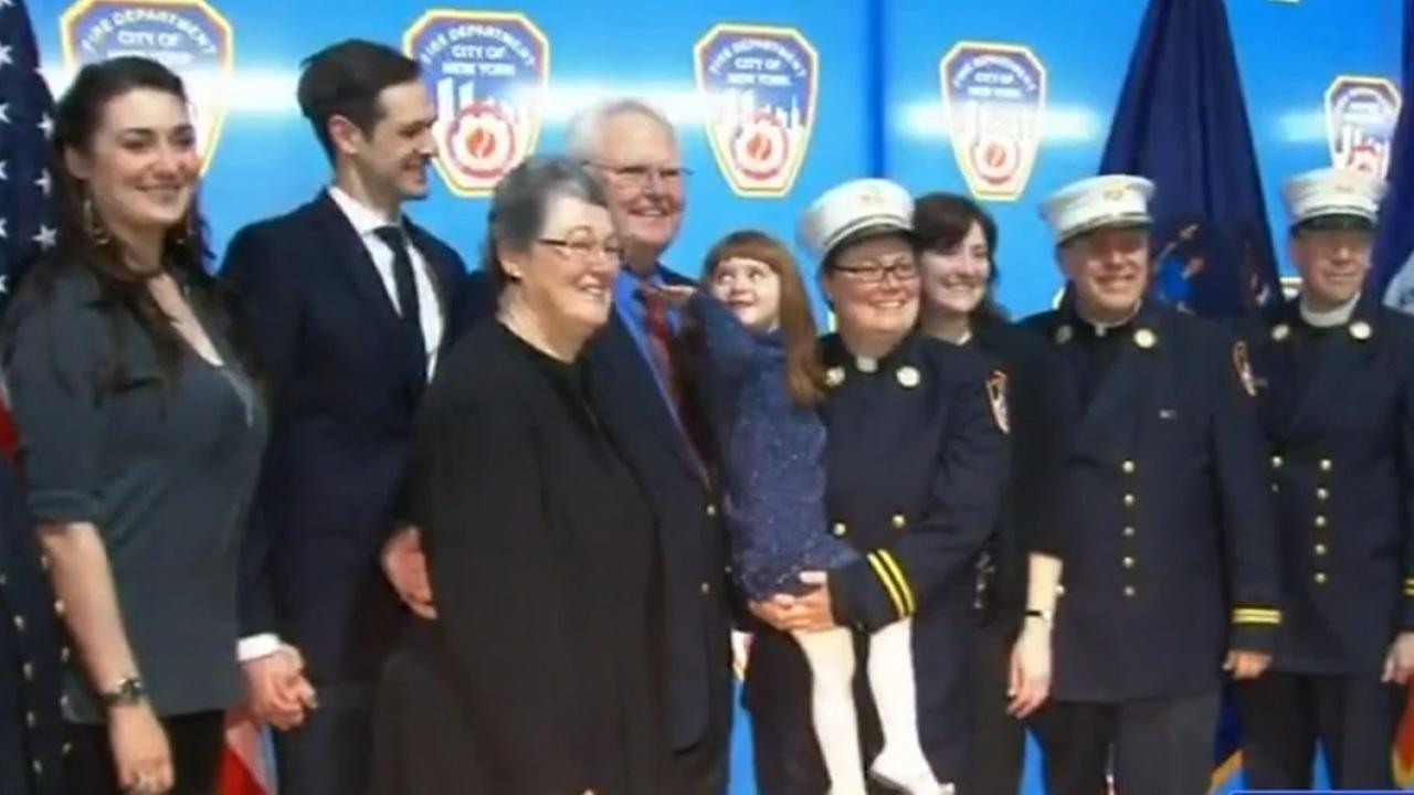 The Fire Department of New York has sworn in Rev. Ann Kansfield, their first female and first openly gay chaplain.
