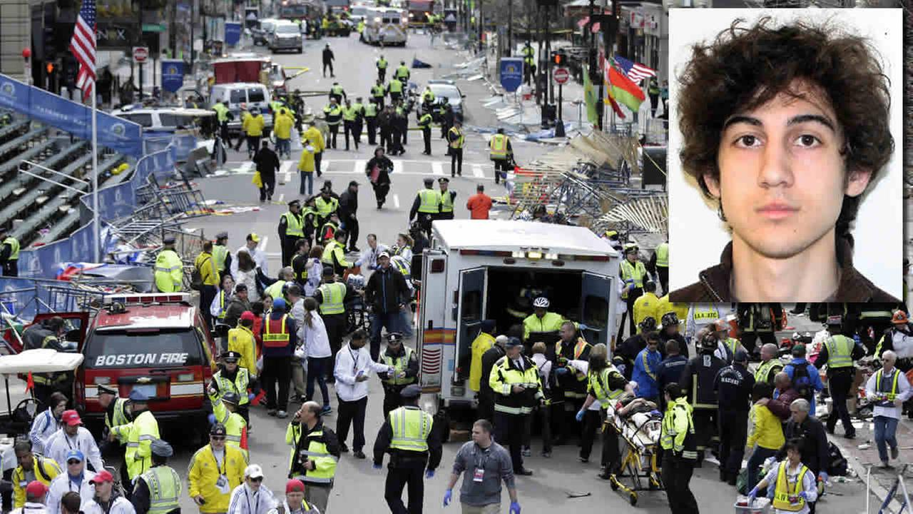 This April 15, 2013 file photo shows the finish line of the 2013 Boston Marathon following an explosion, and suspect Dzhokhar Tsarnaev. (AP Photo/Charles Krupa, File)