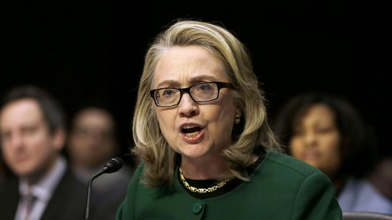 Then-Secretary of State Hillary Rodham Clinton testifies on Capitol Hill in Washington, on the deadly September attack on the U.S. diplomatic mission in Benghazi, Libya.