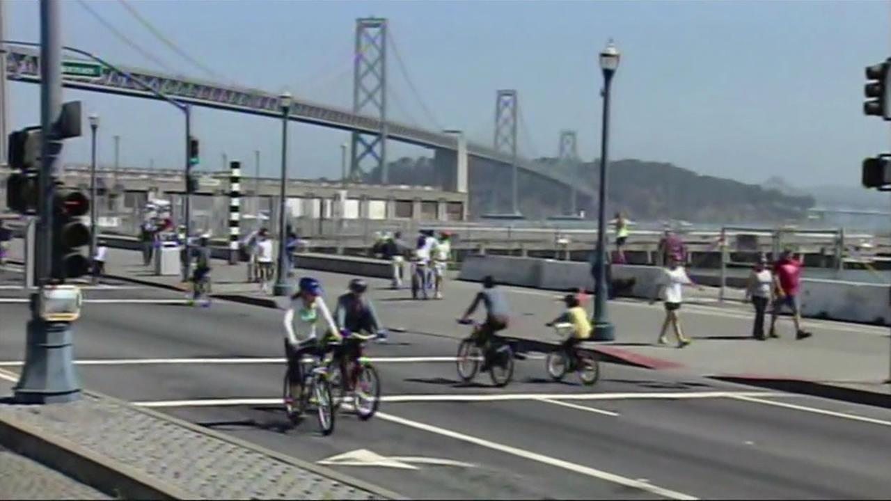 Bicyclists ride on the Embarcadero during San Franciscos Sunday Streets event in March 2014.