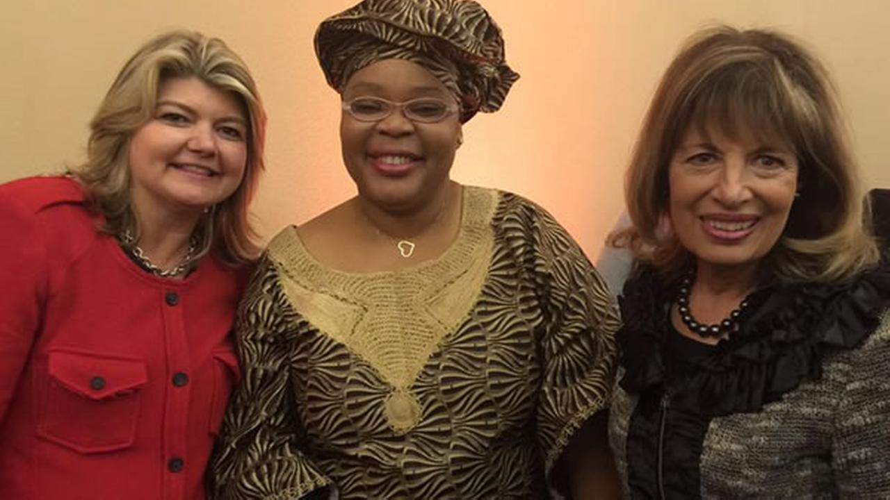 Sandy Carter, Leymah Gbowee and Jackie Speier gather at the 26th annual Professional BusinessWomen of California Conference in San Francisco  on Tuesday, March. 10, 2015.