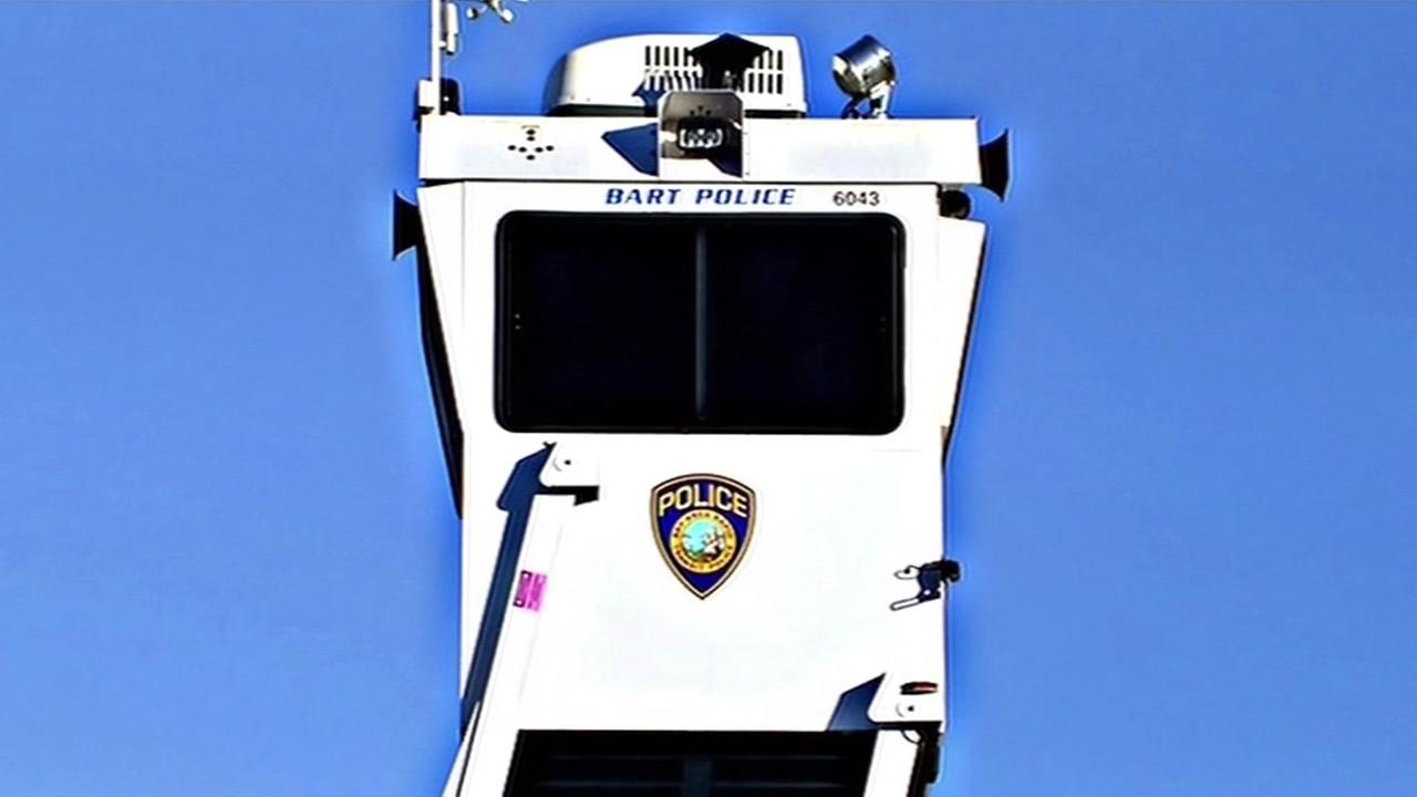 A portable BART police tower is seen in Berkeley, Calif. on March 12, 2015.