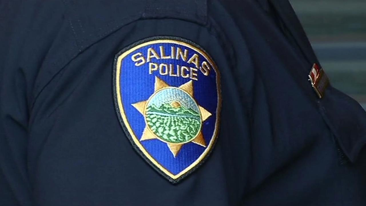 A badge for the Salinas Police Department is seen in Salinas, Calif. on March 12, 2015.