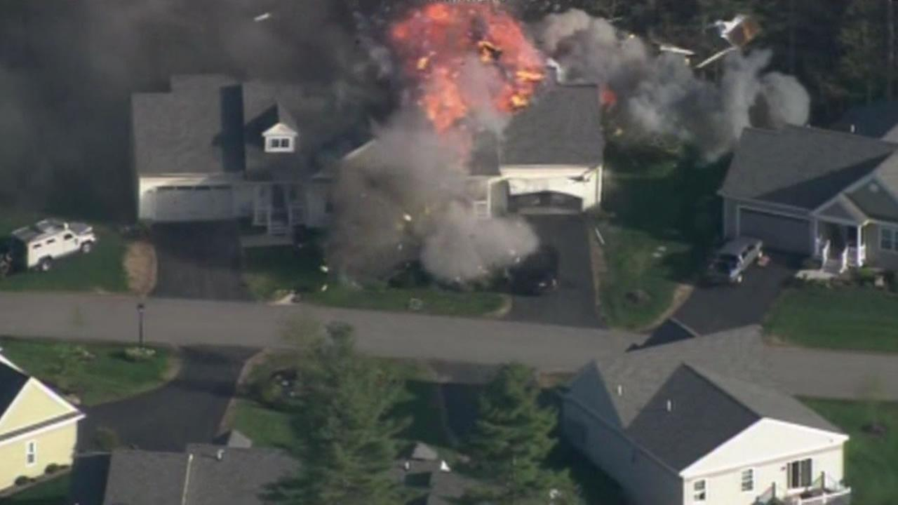A home explodes in Brentwood, New Hampshire.