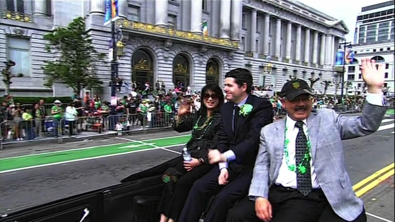 Mayor Ed Lee enjoying the St. Patricks Day Parade in San Francisco on Saturday March 14, 2015.