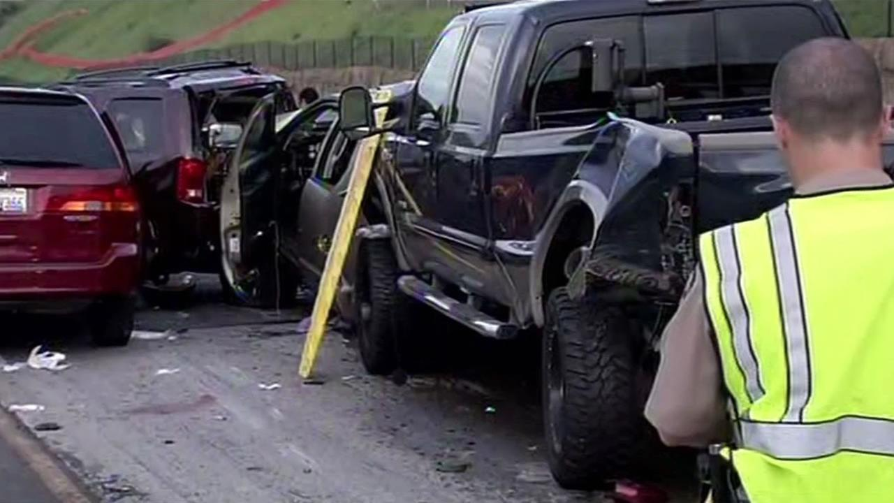 A traffic collision on Interstate 580 near Livermore, Calif. led to a deadly pileup on March 14, 2015.