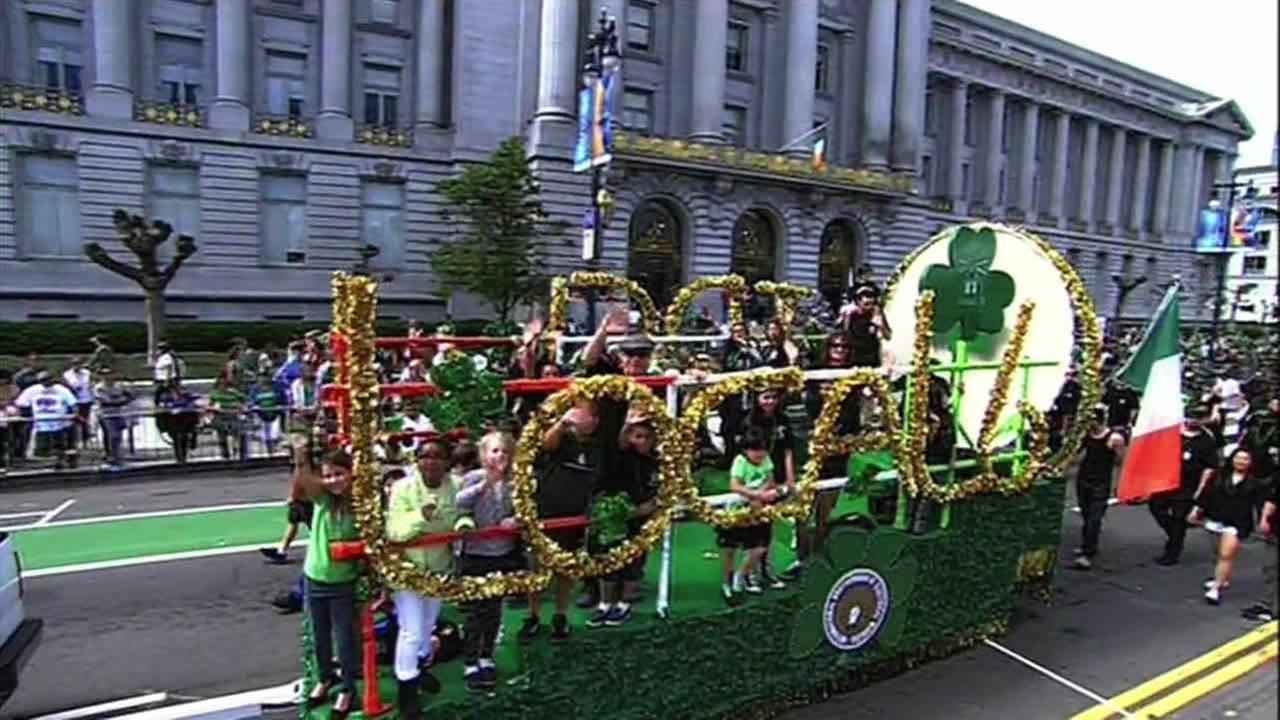 Crowds gather for the St. Patricks Day Parade in San Francisco on Saturday March 14, 2015.
